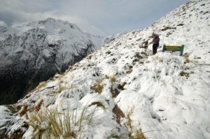 ... которая привела нас после крутого полутора-часового подъёма на заснеженные горные просторы.