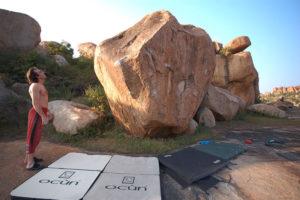Камень с маршрутами.